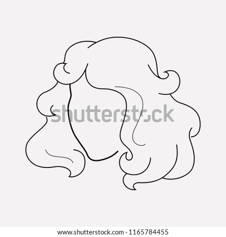 Curly Hair Icon Line Element Illustration Stock Illustration