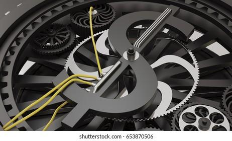Currencies working gears. 3d illustration - Shutterstock ID 653870506