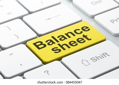 Currency concept: Balance Sheet on computer keyboard background
