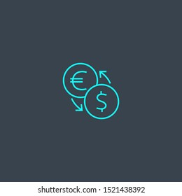 currency converter concept blue line icon. Simple thin element on dark background. currency converter concept outline symbol design. Can be used for web and mobile UI/UX