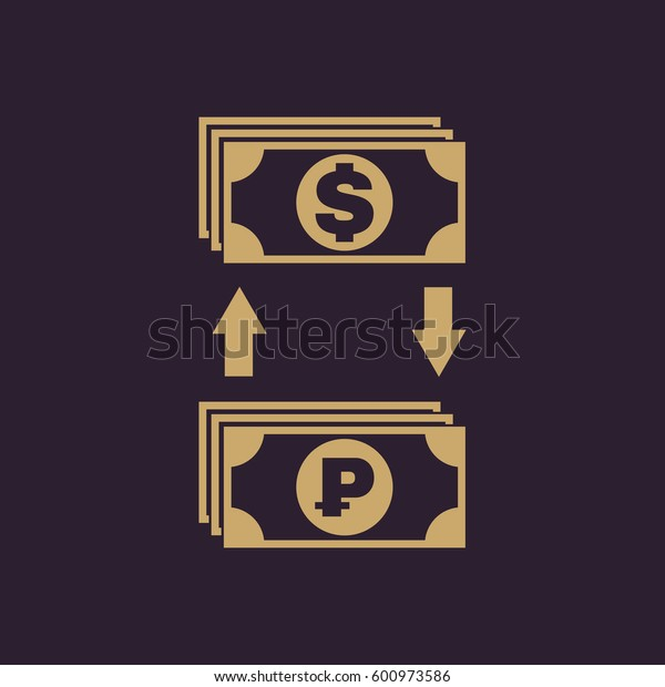 Currency exchange dollar and ruble icon. Bank and finance, pay symbol. Flat design. Stock -  illustration