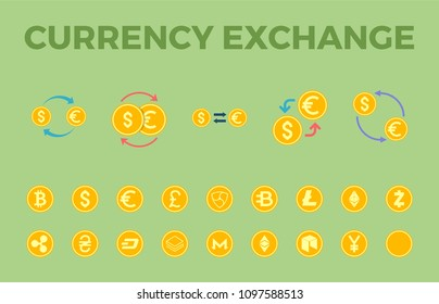 Currency Exchange Icon Set. Cryptocurency - Bitcoin, Ethereum, Ripple, Litecoin, Altcoin, Dash, Monero, NEM, NEO, Stratis, Zcash, Bytecoin, Ethereum Classic. Currency- Dollar, Euro, Yen, Hryvna, Pound