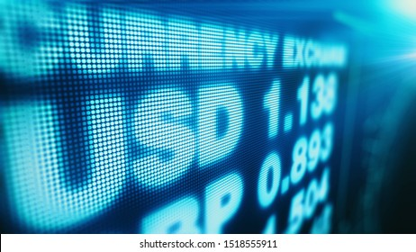 Currency exchange number board in Europe, USD GBP and other money rates