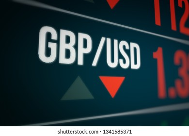 Currency Exchange on LED Display. Strength and Power Down of the British Pound(GBP).  3D illustration