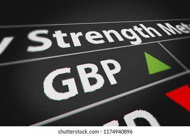 Currency Exchange, Strength and Power of the British Pound(GBP) with Up Arrow (Strong Currency). 3D illustration.