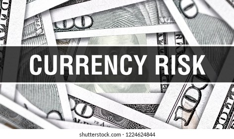 Currency Risk Concept Closeup. American Dollars Cash Money,3D rendering. Currency Risk at Dollar Banknote. Financial USA money banknote Commercial money investment profit concept