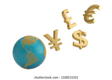 Currency symbol with globe isolated on white background. 3D illustration.