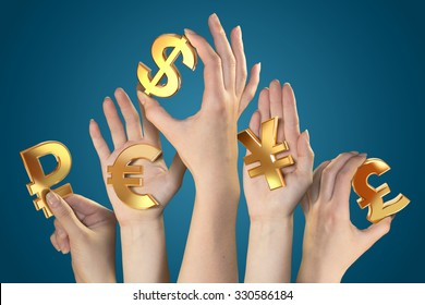 Currency symbols in hands.