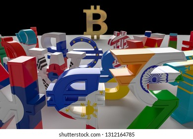 The currency vs cryptocurrencies. International currency symbols attack bitcoin. Bitcoin symbol on the edge of the abyss. 3D rendering, illustration isolated on black.