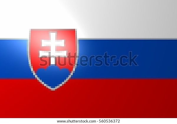 The current form of the national flag of Slovakia