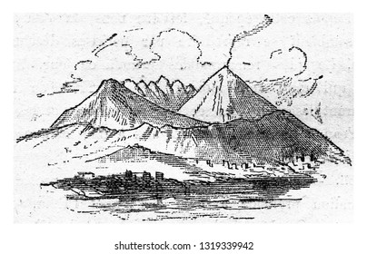 Current Vesuvius, vintage engraved illustration. From Natural Creation and Living Beings.