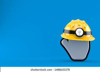 Cursor with miner hat isolated on blue background. 3d illustration