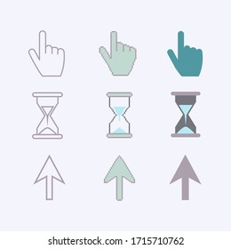 Cursors icons ,sig,symbol ,pictogram set Pixel cursors ,mouse hand arrow hourglass in blue tones isolated on a white background in flat style