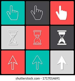 Cursors icons ,sig,symbol ,pictogram set Pixel cursors ,mouse hand arrow hourglass with shadow isolated on a white background in outline or thin line style
