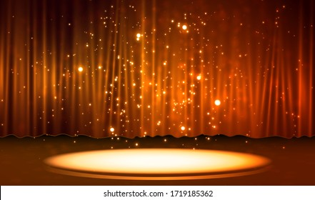 Curtain with scene. Smooth light effect for perfect backdrop Raster version.