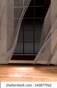 Curtains billowing in the wind and a window with empty background.  You can add your own scene or use it as is for a frosty night background.  Wood floor on interior.