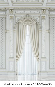 Curtains in a carved niche of white painted wood in a classic style without a window sill. 3d rendering