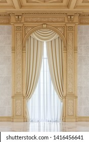 Curtains in a carved niche of wood in a classic style with a wooden ceiling. 3d rendering