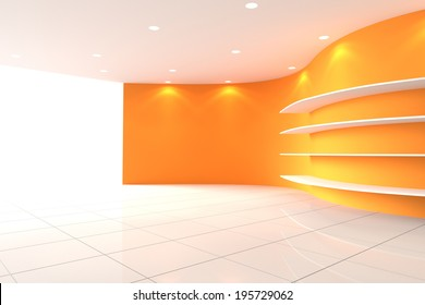 Curve Orange Wall Empty Room with Shelves, Interior Exhibition