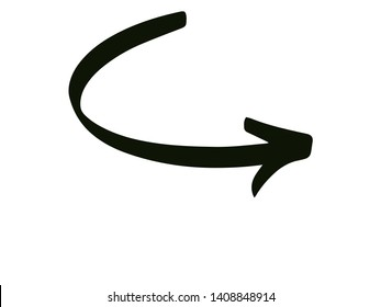 CURVE RIGHT ARROW POINTING UP ON A WHITE BACKGROUND