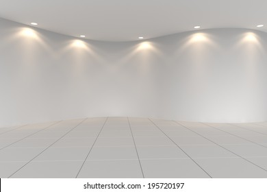 Curve white empty room with tile floor and downlight