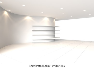 Curve White Wall Empty Room with Shelves, Interior Exhibition