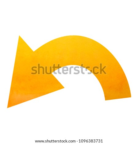 Curved Arrow Sign Left Arrows Button Watercolor Yellow Isolated On White