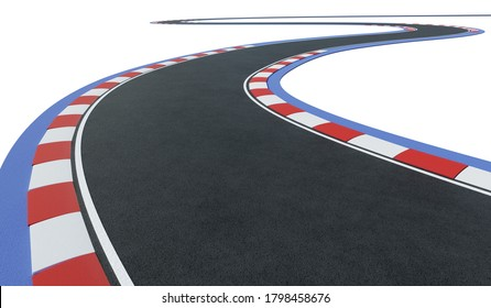 Curved asphalt racing track road isolated on white background with clipping path. 3d rendering