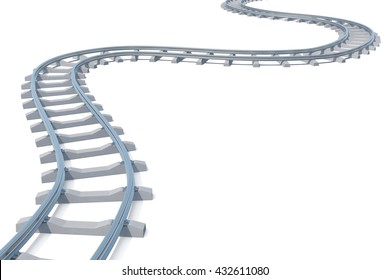 Curved, bend railroad track isolated on white background. 3d illustration