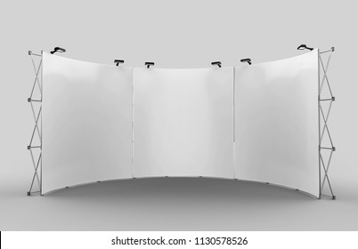 Curved Exhibition Tension Fabric Display Banner Stand Backdrop for trade show advertising stand with LED OR Halogen Light. 3d render illustration.