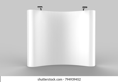 Curved Exhibition Tension Fabric Display Pop up Banner Stand Backdrop for trade show advertising stand with LED OR Halogen Light. 3d render illustration.