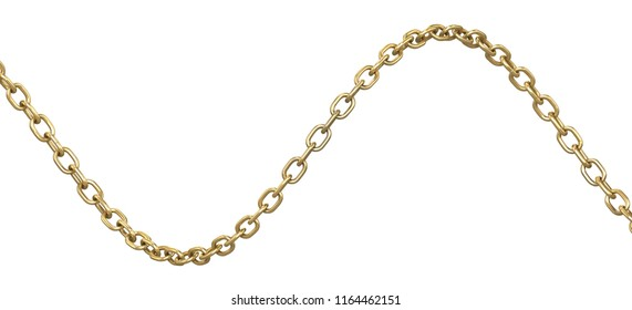 Curved golden chain isolated on white background. 3d illustration