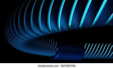 Tuyau courbe se déplaçant sur fond noir. Conception. Modèle 3D de tuyau se déplaçant le long d'une trajectoire courbe. Tube avec coutouts lumineux se déplace le long de la monture