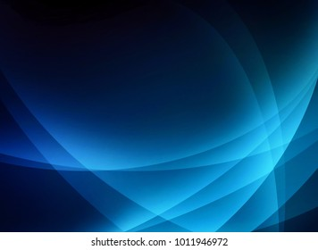 curved intersecting lines in light blue on black background in classy elegant business backdrop design