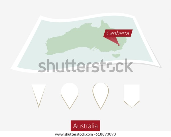 Australia Map Canberra.Curved Paper Map Australia Capital Canberra Stock Illustration 618893093