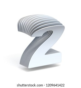Curved paper sheets Number 2 TWO 3D render illustration isolated on white background