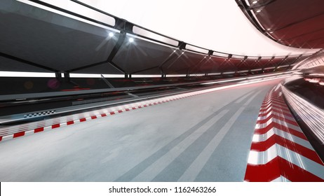 curved race track with speed motin blur, racing sport background rendering 3D illustration