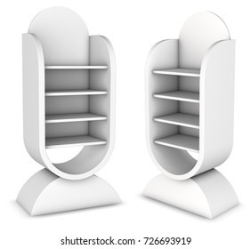 Curved shelving with shelves for exhibitions and sales. 3d image