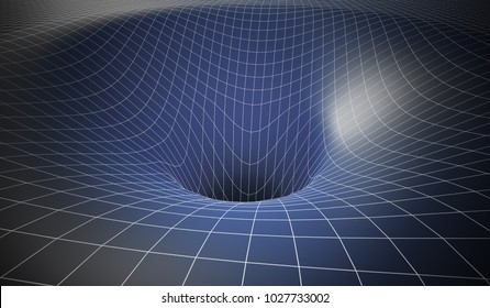 Curved spacetime caused by gravity of blackhole. 3D rendered illustration.