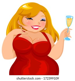 curvy girl in a red dress holding a glass of drink