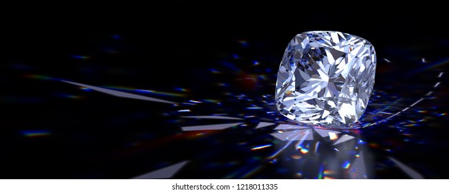 Cushion cut diamond with beautiful colorful caustics rays on black glossy background. 3D illustration