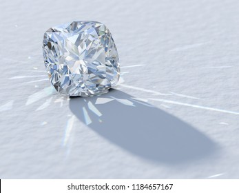 Cushion cut diamond close-up on white background, rear light, caustics rays. 3D illustration
