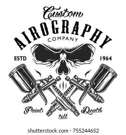 Custom aerography company emblem with spray guns and skull face.