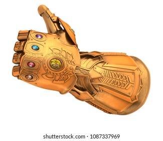 Custom Golden gauntlet of infinity with gemstone isolated 3d Illustration 3d render