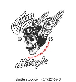 Custom motorcycles .Poster template with winged skull. Design element for poster, flyer, card, banner.