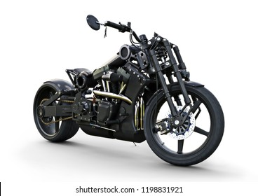 Custom street motorcycle with a racy modern style. 3d rendering on a white background.