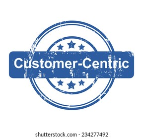 Customer Centric business concept stamp with stars isolated on a white background.