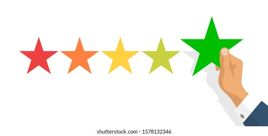 Customer feedback 5 stars scale isolated on white background. Online consumer Review 5 yellow stars with businessman hand. Excellent User experience feedback. Rank,survey level satisfaction rating app