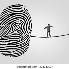 Customer information security risk concept as a person walking on a finger print shaped as a high wire line as an online  symbol and metaphor for personal account data or database breach danger.