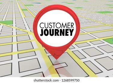 Customer Journey Map Pin Location Directions 3d Illustration